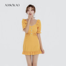 one piece  Auspicious bird M [recommended weight: 80-94 kg] l [recommended weight: 94-108 kg] XL [recommended weight: 108-120 kg] 2166 yellow 2166 Yellow + mobile phone waterproof bag Skirt one piece With chest pad without steel support Nylon spandex polyester Autumn 2020 no female Short sleeve