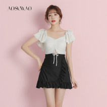 one piece  Auspicious bird Recommended weight: 94-108 kg (L) White swimsuit + mobile phone waterproof bag package Skirt one piece With chest pad without steel support Nylon spandex polyester Spring 2021 no female Short sleeve Casual swimsuit Solid color Lotus leaf edge