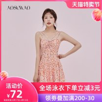 one piece  Auspicious bird M L XL Orange daisy Blue Daisy Skirt one piece With chest pad without steel support Spandex polyester Summer 2020 no female Sleeveless Casual swimsuit other bow
