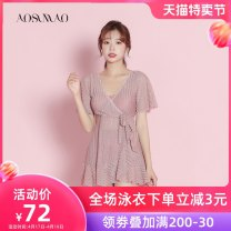 one piece  Auspicious bird M L XL Pink + mobile phone waterproof bag package Skirt one piece With chest pad without steel support Nylon polyester Winter 2020 no female Short sleeve Casual swimsuit Solid color others bow