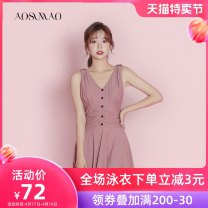 one piece  Auspicious bird M L XL Pink + mobile phone waterproof bag Skirt one piece With chest pad without steel support Nylon spandex polyester Winter 2020 no female Sleeveless Casual swimsuit Solid color backless