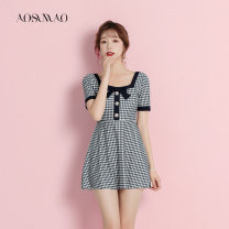 one piece  Auspicious bird M L XL Black Plaid swimsuit + mobile phone waterproof bag Skirt one piece With chest pad without steel support Nylon polyester Spring 2021 no female Short sleeve Casual swimsuit lattice backless