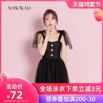 one piece  Auspicious bird M [recommended weight: 80-94 kg] l [recommended weight: 94-108 kg] XL [recommended weight: 108-120 kg] Black + mobile phone waterproof bag Skirt one piece With chest pad without steel support Nylon spandex polyester Winter 2020 no female Sleeveless Casual swimsuit backless
