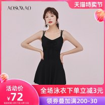 one piece  Auspicious bird M [recommended weight: 80-94 kg] l [recommended weight: 94-108 kg] XL [recommended weight: 108-120 kg] XXL [recommended weight: 120-130 kg] Skirt one piece With chest pad without steel support Nylon spandex polyester Summer of 2019 no female Sleeveless Casual swimsuit
