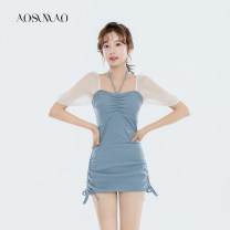 one piece  Auspicious bird M (recommendation 80) - 94 kg) l (recommendation 94 kg) - 108 kg) XL (suggestion 108 kg) - 120 kg) Blue black blue + Mobile phone Waterproof Bag Black + Waterproof bag for mobile phone One piece flat corner swimsuit With chest pad without steel support Autumn 2020 no female