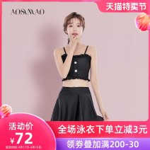 Split swimsuit Auspicious bird Black swimsuit + mobile phone waterproof bag package Skirt split swimsuit With chest pad without steel support Spandex polyester Summer of 2019 no female Sleeveless