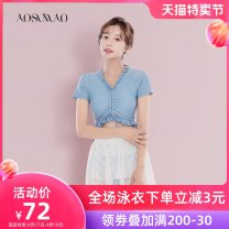 Split swimsuit Auspicious bird Light blue swimsuit + mobile phone waterproof bag package M (recommended 80-94 kg) l (recommended 94-108 kg) XL (recommended 108-120 kg) XXL (recommended weight 120-135 kg) Skirt split swimsuit With chest pad without steel support Spandex polyester Summer of 2019 no
