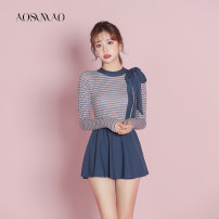 one piece  Auspicious bird M (recommended weight 80-94 kg) l (recommended weight 94-108 kg) XL (recommended weight 108-120 kg) Skirt one piece With chest pad without steel support Nylon spandex polyester Winter 2020 no female Long sleeves Casual swimsuit Solid stripe other bow