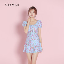 one piece  Auspicious bird M L XL Blue swimsuit + mobile phone waterproof bag package Skirt one piece With chest pad without steel support Nylon polyester Winter 2020 no female Short sleeve Casual swimsuit Solid color others bow