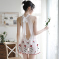Nightdress A beautiful fire Black and white Average size Sweet Sleeveless pajamas Short skirt summer Plants and flowers youth Crew neck nylon Embroidery More than 95% Mesh fabric SQ7027 200g and below Spring of 2019 Polyamide fiber (nylon) 100% Pure e-commerce (online only)