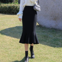 skirt Winter 2020 Average size Black, grey, brown Mid length dress commute High waist skirt Solid color Type H 18-24 years old G175979 More than 95% knitting Other / other other Korean version