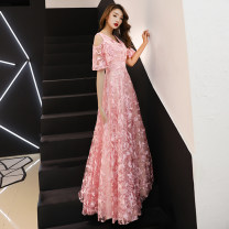 Dress / evening wear Weddings, adulthood parties, company annual meeting, performance date XS S M L XL XXL XXXL Pink long grey blue long Korean version longuette middle-waisted Winter of 2018 Self cultivation zipper 18-25 years old GFT19064 Short sleeve Solid color Gofanti other Other 100% other