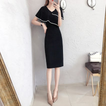 Dress Summer 2021 Picture color S M L XL Mid length dress singleton  Short sleeve commute V-neck middle-waisted Solid color Socket One pace skirt Bat sleeve Others 25-29 years old T-type unenow Retro Three dimensional decorative asymmetry of flounce stitching More than 95% other Other 100%