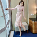 Dress Autumn 2020 Pink (for elastic belt) off white (for elastic belt) S M L XL Mid length dress singleton  Long sleeves commute Crew neck High waist Solid color Socket A-line skirt routine Others 25-29 years old Type A Only quiet clothes Korean version Cut out embroidery stitching button lace other