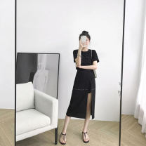 Dress Summer 2021 black S M L XL longuette Two piece set Short sleeve commute Crew neck High waist Solid color Socket Irregular skirt routine Others 25-29 years old He Jing Retro More than 95% other Other 100% Pure e-commerce (online only)