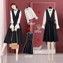 Women's large Spring 2020 202081 white shirt 202082 dark blue vest skirt 202081 white shirt + 202082 dark blue vest dress L XL S M Dress Two piece set commute Socket Long sleeves Solid color Korean version V-neck other pagoda sleeve 202081+202082#1 Onedawm / Chuli 25-29 years old fungus 96% and above