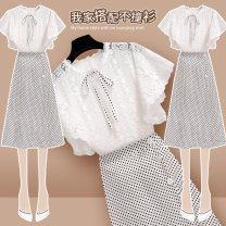 Dress Summer 2020 208389 white top 208390 white skirt 208389 white top + 208390 white skirt S M L XL Mid length dress Two piece set Short sleeve commute Crew neck High waist Dot Socket A-line skirt Bat sleeve Others 25-29 years old Type H Onedawm / Chuli Korean version 208389+208390AB#1 More than 95%