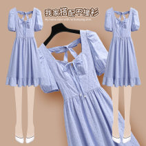 Dress Summer 2021 212630 blue dress S M L XL Mid length dress singleton  Short sleeve commute square neck High waist Solid color Socket A-line skirt puff sleeve Others 25-29 years old Type A Onedawm / Chuli Korean version Bow and ruffle cut out pleated stitching beads 212630#1 More than 95% other