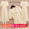 Dress Summer 2021 213086 yellow dress S M L XL Mid length dress singleton  Short sleeve commute Doll Collar High waist Solid color Socket Big swing bishop sleeve Others 25-29 years old Type A Onedawm / Chuli Korean version Cut out and pleated lace with ruffles 213086#1 More than 95% Lace other