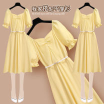 Dress Summer 2021 210761 yellow dress S M L XL Mid length dress singleton  Short sleeve commute square neck High waist Solid color Socket A-line skirt Wrap sleeves Others 25-29 years old Type A Onedawm / Chuli Korean version Lace strap with ruffles 210761+YD107#1 More than 95% Chiffon other