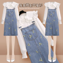 Dress Summer 2021 S M L XL Short skirt Two piece set Short sleeve commute Doll Collar High waist Broken flowers Socket A-line skirt puff sleeve straps 18-24 years old Type A Onedawm / Chuli Korean version Three dimensional decoration with embroidery More than 95% Denim other Other 100%