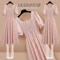 Dress Summer 2021 210677 pink dress S M L XL longuette singleton  Short sleeve commute square neck High waist Broken flowers Socket Ruffle Skirt puff sleeve Others 25-29 years old Type A Onedawm / Chuli Korean version Three dimensional decorative printing with ruffles and stitches 210677#5 Chiffon