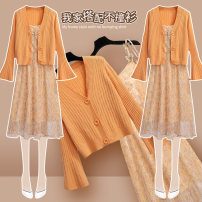 Dress Spring 2021 208898 orange cardigan 208500 apricot suspender skirt S M L XL Mid length dress Two piece set Long sleeves commute Crew neck High waist Broken flowers Socket A-line skirt pagoda sleeve Others 25-29 years old Onedawm / Chuli Korean version Pleated lace up button 208898+208500AB#1