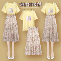skirt Summer 2020 S M L XL 208160 cream top 208159 floral white cake skirt 208160 cream top + 208159 floral white cake skirt Mid length dress commute High waist Cake skirt Broken flowers 25-29 years old 208160+208159#5 More than 95% Onedawm / Chuli other Ruffle stitching Korean version Other 100%