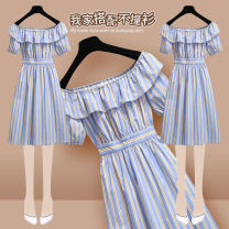 Dress Spring 2021 S M L XL Short skirt singleton  Short sleeve commute One word collar High waist stripe Socket A-line skirt bishop sleeve Others 25-29 years old Type A Onedawm / Chuli Korean version Ruffle print More than 95% other other Other 100% Pure e-commerce (online only)