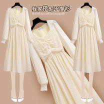 Dress Spring 2021 212355 pink dress 212355 apricot dress S M L XL Mid length dress singleton  Long sleeves commute square neck High waist Broken flowers Socket A-line skirt puff sleeve Others 25-29 years old Type A Onedawm / Chuli Korean version 212355#5 More than 95% Chiffon other Other 100%