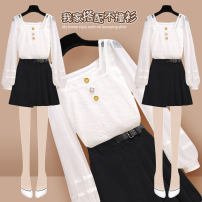 Women's large Autumn 2020 200789 black skirt 208796 white lace shirt L XL S M shirt Two piece set commute easy moderate Socket Long sleeves Dot Korean version One word collar routine other fold bishop sleeve 200786+200789#1 Onedawm / Chuli 18-24 years old Three dimensional decoration 96% and above