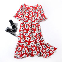 Dress Summer 2020 Black, red M,L,XL,2XL Mid length dress singleton  Short sleeve commute Crew neck middle-waisted Decor Socket A-line skirt routine Others Type X Ol style zipper 19173ZMD More than 95% Crepe de Chine silk