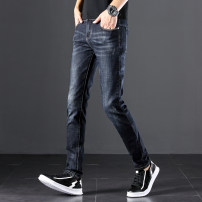 Jeans Youth fashion 28 29 30 31 32 33 34 36 38 thick Micro bomb Thin denim trousers summer teenagers low-waisted Slim feet Youthful vigor 2017 Little straight foot zipper washing Summer 2017 cotton Pure e-commerce (online only)