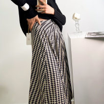 skirt Spring 2021 M,L,XL Check pattern Middle-skirt commute Pleated skirt lattice 30-34 years old other other Splicing