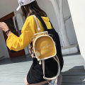 Backpack PU Other / other Black, white, green, yellow Small zipper other Double root other Soft handle letter Vertical square inside pocket with a zipper polyester fiber Color contrast 8 inches Three dimensional bag other