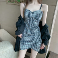 Dress Summer 2021 Picture color S M L Short skirt singleton  Sleeveless commute V-neck High waist lattice Socket A-line skirt puff sleeve Others 18-24 years old Type A ikllo Retro Asymmetrical stitching of open back with ruffles K82Kbn More than 95% other other Other 100%