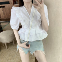 shirt Picture color S M L Spring 2021 other 96% and above Short sleeve Original design Short style (40cm < length ≤ 50cm) stand collar Socket puff sleeve Solid color 18-24 years old High waist type ikllo IQNY94032yczH Ruffle stitching fold Other 100% Pure e-commerce (online only)