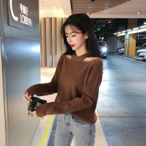 Wool knitwear Autumn of 2019 S M L XL Brown Black Long sleeves singleton  Socket other More than 95% have cash less than that is registered in the accounts thickening commute Self cultivation Half height crew neck routine Solid color Socket Retro KNOL95320 18-24 years old ikllo Hollow splicing thread