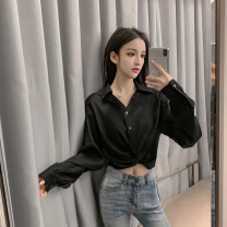 shirt White black yellow S M L XL Autumn of 2019 other 96% and above Long sleeves commute Regular V-neck Socket routine stripe 18-24 years old High waist type ikllo Korean version Thread stitching fold Other 100% Pure e-commerce (online only)