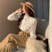 Lace / Chiffon Spring 2021 White apricot S M L Long sleeves commute Cardigan singleton  Straight cylinder have cash less than that is registered in the accounts Crew neck Solid color routine 18-24 years old ikllo XC6819 Button lace with flounce Retro 96% and above Other 100% polyester fiber