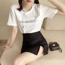 Dress Spring 2021 White top and black skirt S M L XL Short skirt Two piece set Short sleeve commute Crew neck High waist Solid color Socket A-line skirt routine Others 18-24 years old Type A ikllo Retro Splicing asymmetry More than 95% other other Other 100% Pure e-commerce (online only)