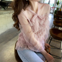 Lace / Chiffon Spring 2021 Picture color S M L XL 2XL Long sleeves commute Socket singleton  easy Regular Scarf Collar Solid color routine 18-24 years old ikllo Lace up with bow and ruffle Retro 96% and above Other 100% Exclusive payment of tmall polyester fiber