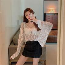 Lace / Chiffon Summer 2020 White black S M L Long sleeves commute Socket singleton  easy Regular V-neck Solid color routine 18-24 years old ikllo Thread asymmetry of hollow splicing Retro 91% (inclusive) - 95% (inclusive) Other 100% Pure e-commerce (online only) polyester fiber