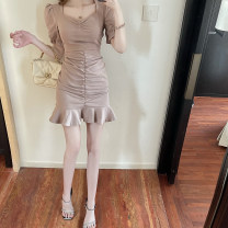 Dress Summer 2021 Apricot S M L Short skirt singleton  Short sleeve commute square neck High waist Solid color Socket One pace skirt routine Others 25-29 years old Type A ikllo Retro Asymmetric stitching of ruffles 679# More than 95% Chiffon other Other 100% Exclusive payment of tmall