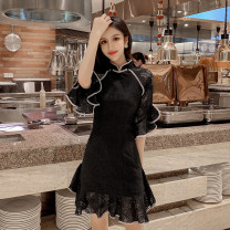 Dress Summer of 2019 Black and white S M L Short skirt singleton  Short sleeve commute stand collar middle-waisted other zipper Ruffle Skirt Lotus leaf sleeve Others 18-24 years old Type A ikllo Retro Lace with ruffles More than 95% Lace other Other 100% Pure e-commerce (online only)