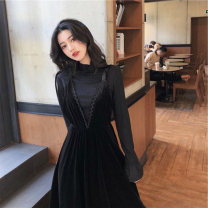 Dress Winter 2020 Black undergarment + suspender skirt S M L XL Mid length dress Two piece set Long sleeves commute Half high collar High waist Solid color Socket A-line skirt other camisole 18-24 years old Type A ikllo Retro Splicing asymmetry 71% (inclusive) - 80% (inclusive) other polyester fiber