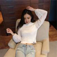 Wool knitwear Autumn of 2019 S M L Black and white Long sleeves singleton  Socket other More than 95% have cash less than that is registered in the accounts routine commute Self cultivation High collar routine Solid color Socket Korean version 18-24 years old ikllo Splicing thread Other 100%