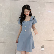 Dress Summer of 2019 Black blue apricot blue check green check S M L XL Middle-skirt singleton  Short sleeve commute square neck middle-waisted other Socket Ruffle Skirt routine Others 18-24 years old Type A ikllo Retro Open back button with ruffle More than 95% Chiffon other Other 100%