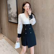 Dress Autumn 2020 Picture color S M L XL Short skirt Two piece set Long sleeves commute V-neck High waist Solid color Socket A-line skirt puff sleeve Others 18-24 years old Type A ikllo Retro Asymmetric folding and splicing of ruffles 1896# More than 95% other other Other 100%