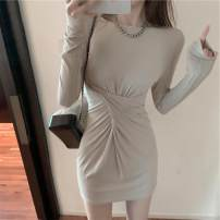 Dress Autumn 2020 Black light Khaki S M L Short skirt singleton  Long sleeves commute Crew neck High waist Solid color Socket A-line skirt routine Others 18-24 years old Type A ikllo Korean version Fold splicing asymmetry More than 95% other other Other 100% Exclusive payment of tmall